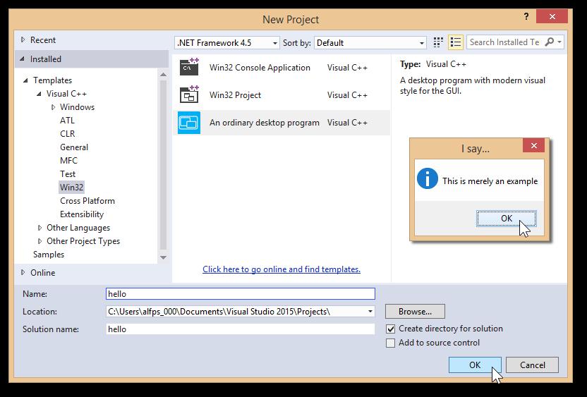 Project template - an ordinary desktop program - Visual